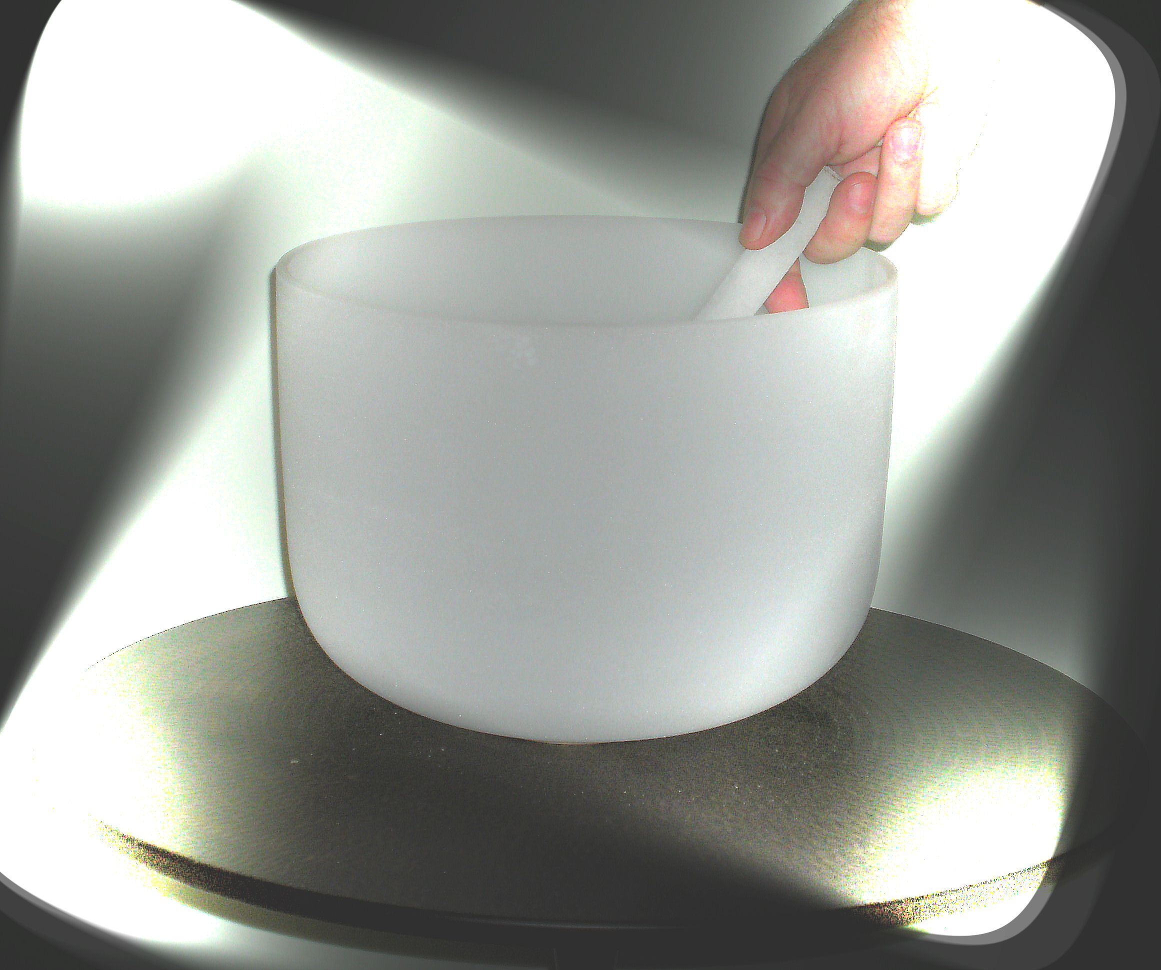 "11"" QUARTZ CRYSTAL SINGING BOWL-FROSTED-Solar Plexus Chakra-Note"