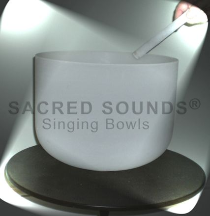 "14"" QUARTZ CRYSTAL SINGING BOWL-FROSTED-Crown Chakra-NOTE'B'"