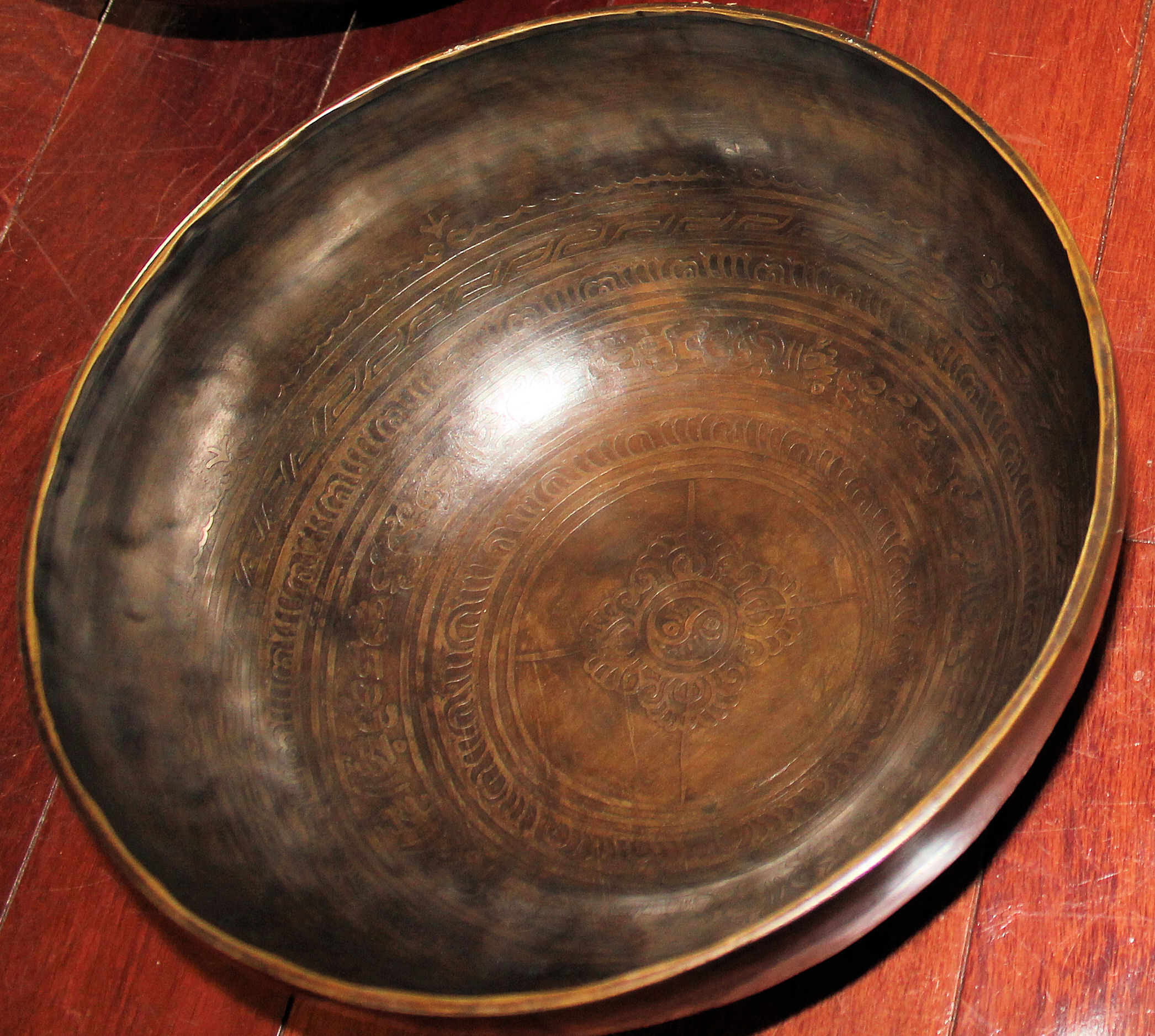 "10"" Hand Hammered & Carved Tibetan Singing Bowl"